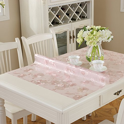 XKQWAN Pvc Clear Soft glass table mat Oblong table cloth Waterproof Oil-proof Plastic Table cloth Table cloth-D 70x140cm(28x55inch)