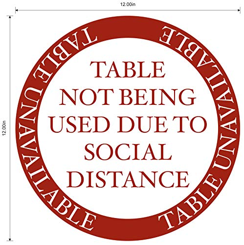'Table Unavailable' Social Distancing COVID-19 (Coronavirus) Adhesive Durable Laminated Vinyl Decal- 12' Sign by Graphical Warehouse- Safety and Security Signage- Version 2 (Venetian Red)