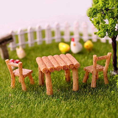 Vektenxi Juego de 3 sillas de mesa de resina artesanal, micro paisaje, ornamento hada, jardín en miniatura, terrario, figuras decorativas duraderas y útiles