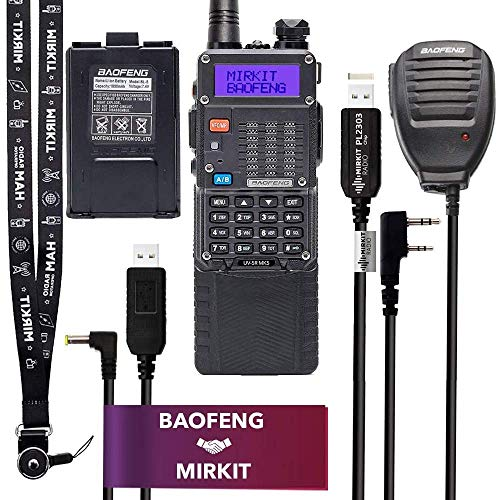 Mirkit Extra Pack BaofengRadio UV-5R MK5 8 Watt MP Max Power with 3800 mAh, Handheld Speaker Mic, Baofeng Programming Cable and Software - Extended Kit