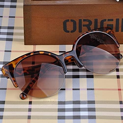 Gafas De Sol Mujer, Diseñador Retro A La Moda, Gafas Circulares Súper Redondas, Ojo De Gato, Gafas Semi Sin Montura para Hombres, Gafas Uv400 De Leopardo
