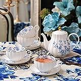 Juego de 4 tazas de cerámica para café expreso Juego de taza y platillo de corte inglés Juego de té combinado de cafetera 200cc