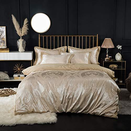 QJIAXING Literie Satin Jacquard Craft Set de 4 Coton lavé Feuilles Couette Housse taie d'oreiller Maison Textile,Beige,200×230cm
