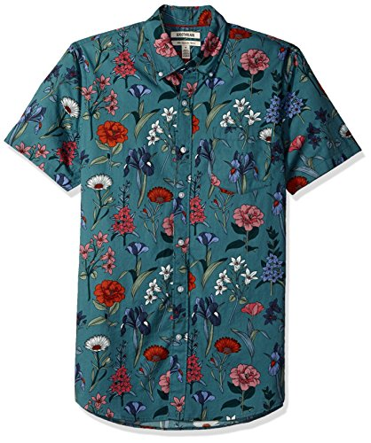 Marchio Amazon - Goodthreads, camicia a maniche corte in popeline stampato, da uomo, Slim Fit, Wallpaper Floral, US L (EU L)