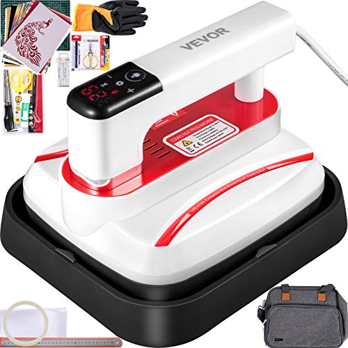 VEVOR Portable Heat Press 7x8 Inch Easy Press with Complete Tool Carrying Case Mini Heat Press Automatic Heat Press Machine for T Shirts Bags and Small HTV Vinyl Projects(Red)