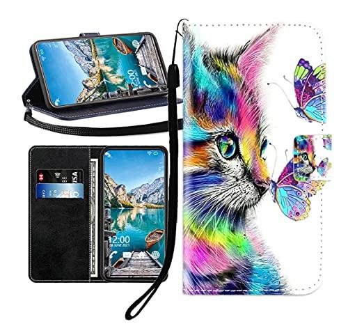 Sunrive Kompatibel mit Huawei ShotX Hülle,Magnetisch Schaltfläche Ledertasche Schutzhülle Etui Leder Hülle Handyhülle Tasche Schalen Lederhülle MEHRWEG(Schmetterlings Katze B1)