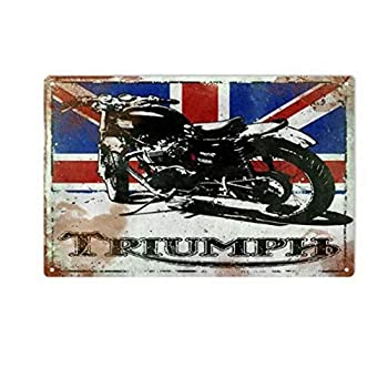 NINGFEI Metal Sign Fashion Triumph Motorcycle with British Flag Metal Logo Metal Painting Vintage Tin Signs Framed Wall Art Home Decor Pub 8 X 12 Inches Vintage Tin Sign