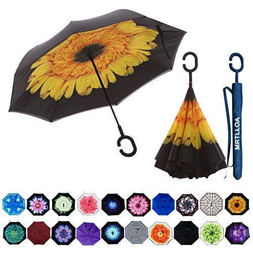 Purchase MRTLLOA Double Layer Inverted Umbrella with C-Shaped Handle, Anti-UV Waterproof Windproof S...