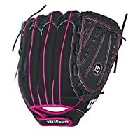 "Wilson Flash Baseball Gloves, Black/Hot Pink, 12"", Right Hand Throw"