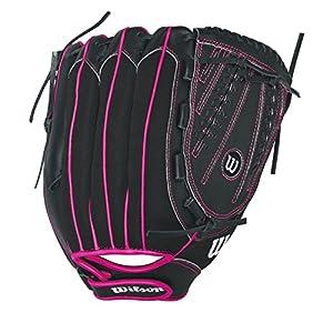"Wilson Flash Baseball Gloves, Black/Hot Pink, 12"", Right Hand Throw"