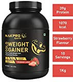 Nakpro Sports Gold Weight Gainer Protein Powder Supplement with Digestive Enzymes and Vitamin