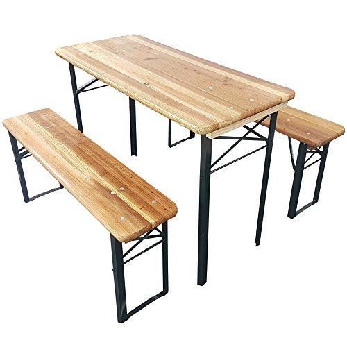 Set x3 table de brasserie de proheim (1 table + 2 bancs) - Ensemble de jardin pliable en bois de 110 cm