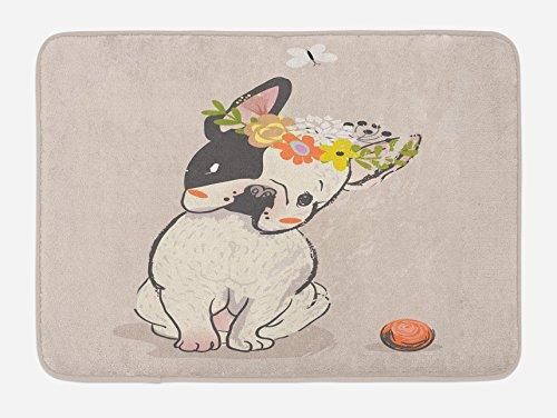 Lunarable Dog Bath Mat, Hand Drawn French Bulldog with Wreath on Its Head Watercolor Domestic Pet Illustration, Plush Bathroom Decor Mat with Non Slip Backing, 29.5' X 17.5', Multicolor