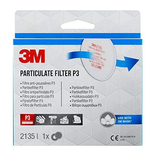 3M Partikelfilter 2135PRO1 – Feinstaubfilter mit Schutzstufe P3 für 3M Atemschutzmaske – 1 Paar P3 Filter mit innovativer Filtertechnologie
