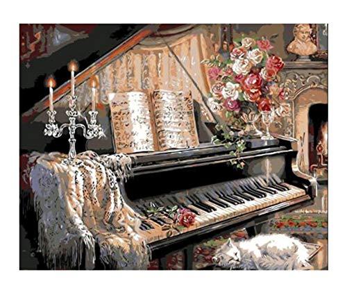 Nach Der Nummer Kit Malerei Diy Ölgemälde Klavier Kerzenhalter Kinder Anfänger Acryl Home Dekoration Geschenk 40X50Cm