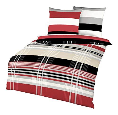 Kaeppel Biber Bettwäsche Set Prime Time Rot Schwarz Weiß Streifen, Größe:240x220cm Bettwäsche