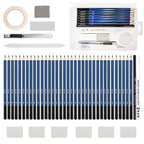 Bleistifte Skizzierstifte, Lypumso 42 Set Kohlestifte, Graphitstifte Zeichnen Bleistift mit Knetgummi-Radierer und Washi Klebeband für Anfänger und Professionelle Maler