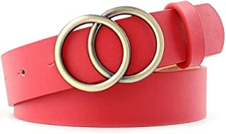 New Belt Soft Faux Leather Double Ring Buckle Vintage Decorative Casual Tighten All-Match Lightweight Long Women Belt Solid Holes Very Strong and Durable (Color : Red)