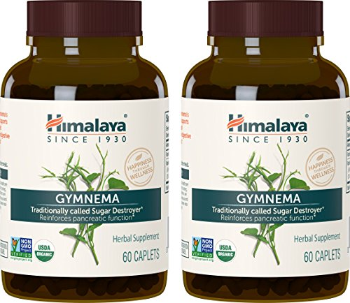 Himalaya Organic Gymnema Sylvestre for Blood Sugar Support and Metabolism, 700 mg, 60 Caplets, 2 Month Supply, 2 Pack