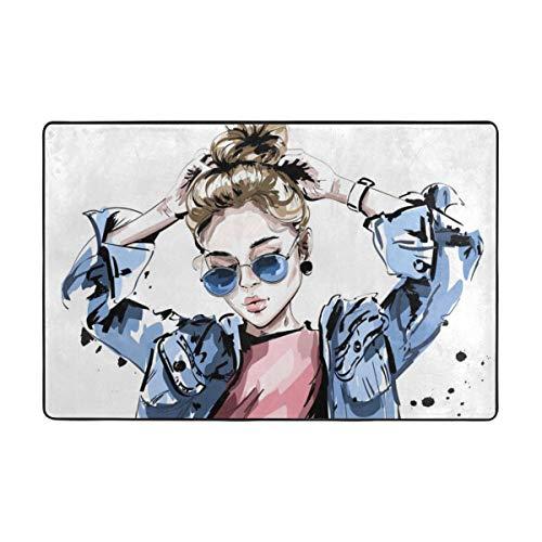 Usting Vrouwen In Jeans Jassen En Zonnebrillen - Mijn Stijl Tapijt, Gepersonaliseerde Badkamer Tapijt, 36 X 24 Inches-72 X 48 Inches
