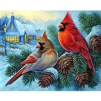 5Dダイヤモンド絵画漫画動物枢機卿鳥冬モザイク壁画アートスクエアラウンドフォト刺繍DIYセットギフトホーム