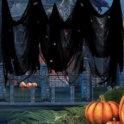 Weekend&Lifecan tela espeluznante halloween, tela espeluznante negro, paño Espeluznante, decoración de terror de halloween, 5x2m