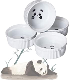 Cinf Fun Panda Ramekins-10oz Cinf Ramekins 10 oz Pudding Cup Baking Cup Bowls Dishes, Set of 4,Souffle Cups Dishes, Dipping Sauce,Creme Brulee, Custard Cups, Desserts, Oven, Microwave, Freezer