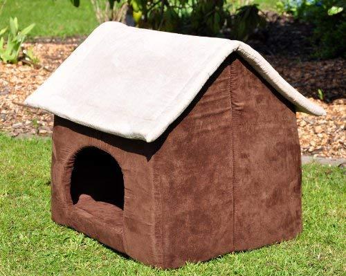 nanook Hunde-Höhle Hunde-Haus COSY für große Hunde XL und XXL, Wildleder-Optik, braun grau, Indoor - 4