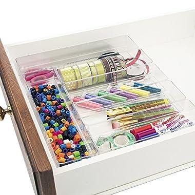 Clear Plastic Desk Drawer Organizers | 6 Piece Set