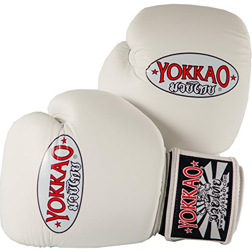 YOKKAO Matrix Breathable Muay Thai Boxing Glove - Black, Red, Blue, White, Yellow, Green, Grey, Petroleum, 8oz, 10oz, 12oz, 14oz, 16oz Gloves (16 oz, Cowhide - White)
