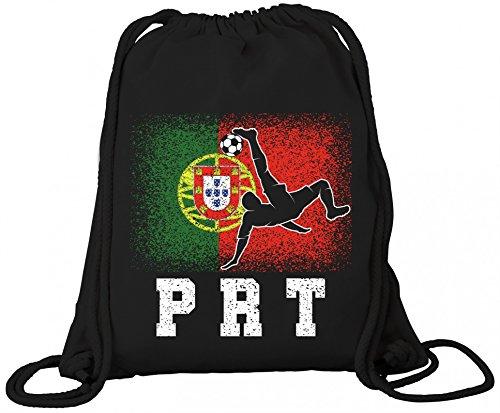 ShirtStreet Wappen Fußball WM Fanfest Gruppen Trikot Premium Bio Baumwoll Turnbeutel Rucksack Stanley Stella Portugal Football Player, Größe: onesize,Black