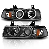 AmeriLite 1Pc Projector Replacement Headlights LED Halo Black Set for 92-98 BMW 3 Series E36 4 Door - Passenger and Driver Side