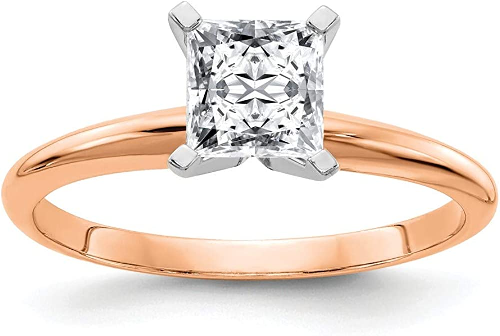14k Rose Gold 2 1/2ct. 7.5mm G H I True Princess Moissanite Solitaire Band Ring Size 7.00 Engagement Gsh Gshx Fine Jewelry For Women Gifts For Her