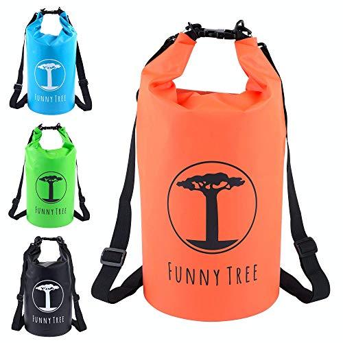 Funny Tree® Drybag. (20L orange) Wasserdichter (IPx6), verbesserter DryBag, schwimmfähig. Inklusive wasserdichter Handy-Hülle | Stand Up Paddle | Wassersport | Ski-Fahren | Snow-Boarden | Tauchen