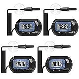 KYYKA Pack de 4 termómetros digitales LCD para acuario, terrario, temperatura con ventosa para tortuga