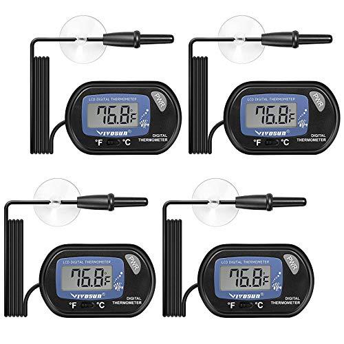 KYYKA 4er Pack LCD Digital Aquarium Thermometer Aquarium Wasserterrarium Temperatur mit Saugnapf für Schildkröte