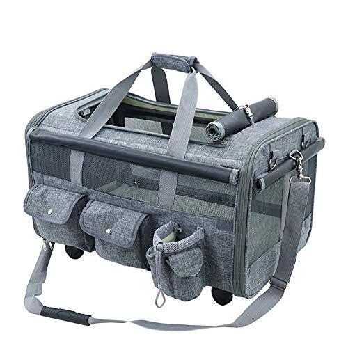 HNWNJ Haustierausstattung PET-Tasche, Portable Hundebeutel aus Port, Universal-Wheel, Haustierbeutel, Haustierversorgungen, Vierrad-Hundewagen mit Mehreren PET verstecken (Color : Gray)