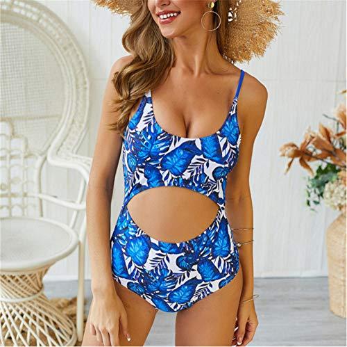 Empty Badebekleidung Sommer Frauen Einteiliger Badeanzug Strandbekleidung Push Up Gepolsterte Badende Badebekleidung Blumen Badeanzug Damen-XL