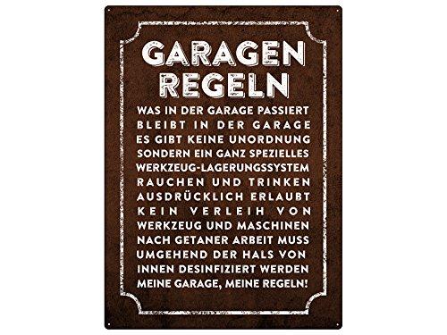 WANDSCHILD 28x20cm GARAGEN-REGELN Metallschild Auto Männer Spruchschild