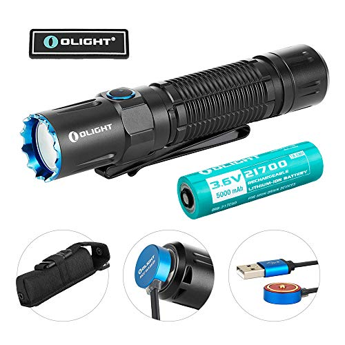 OLIGHT M2R Pro Warrior 1800 Lumens USB Magnetic Rechargeable Dual Switches Tactical Flashlight with 300 Meters Beam Distance, Powered by 5000mAh 21700 Battery