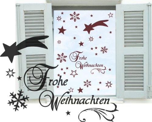 Dunkelroter Dekobogen Weihnachtsfenster 44 Teile Sterne, Sternschnuppe, Schneeflocken, Schriftzug