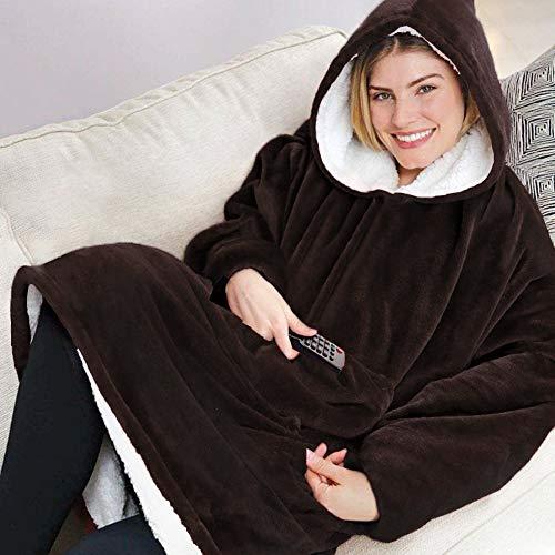Sherpa Hoodie Sweatshirt Kuscheldecke Ultra Weiche Warme Original TV Decke mit Ärmel und Tasche Baumwolle Fleece Kapuzen Pullover for Erwachsene Männer Damen Teenager, 80 * 120 cm Braun