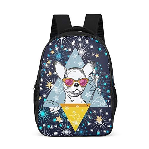 Hond dragen Zonnebril Laptop Rugzak Print College Daypack - Mode Ontwerp Print Waterdichte Preppy Schooltas Rugzak Dagtas voor Meisjes school Kinderen Dagelijks