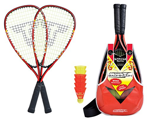 Talbot-Torro Speed-Badminton Set Speed 5000, 2 handliche Alu-Rackets 56,5cm, 6 windstabile Federbälle, im trendigen Rucksack, 490105