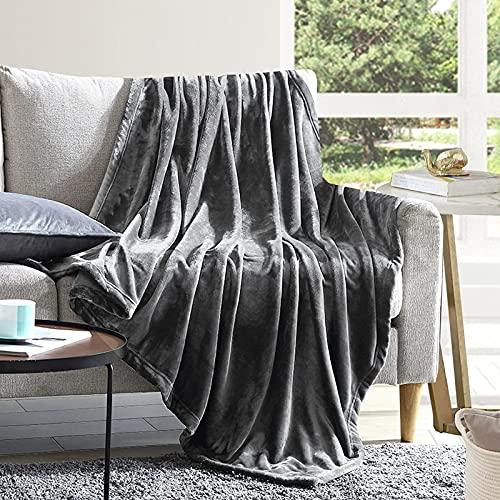 EHEYCIGA Manta Sofa Mantas para Cama Gris Oscuro 240x220cm Microfibra Suave Acogedora Manta de Lujo para La Cama