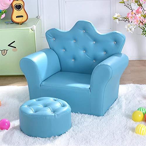AGVER Bambini Divano, PU Pelle Poltrona Bambini Kids Mini Divano con Poggiapiedi, per Camera Game Room (Rosa),Light Blue