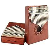 Kalimba - Piano à 17 touches en bois portable avec marteau de tonne, livre...