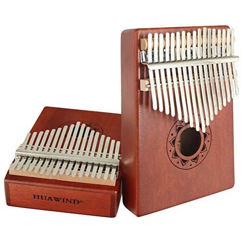Kalimba - Piano à 17 touches en bois portable avec marteau de tonne, livre d'instructions et instrument de musique, cadeau pour débutants, enfants et adultes