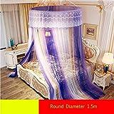 CHERCAND Vergrößern Prinzessin Kuppel Netting Baldachin Vorhang, Romantisch Spitze Mückennetz Vorhang Dekorative Runde Fliegennetz Für Alle Größe Bett-d 150x300cm(59x118inch)