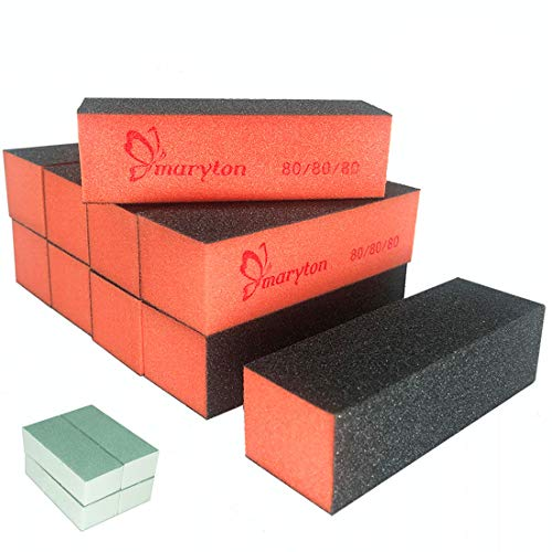 Nail Buffer Sanding Block Polisher Buffing File 60/100 Grit Nail Art Pedicure Manicure Kit 10 PCS (Black Purple)